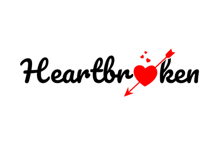 heartbroken word text with red broken heart with arrow concept, suitable for logo or typography design