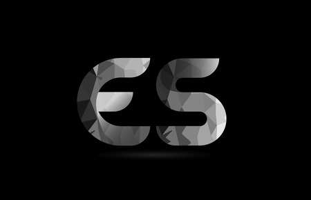 black and white alphabet letter es e s logo combination design suitable for a company or business