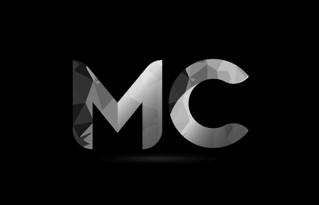 black and white alphabet letter mc m c logo combination design suitable for a company or business