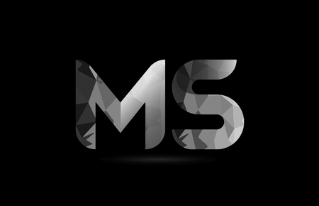 black and white alphabet letter ms m s logo combination design suitable for a company or business 版權商用圖片 - 108963882