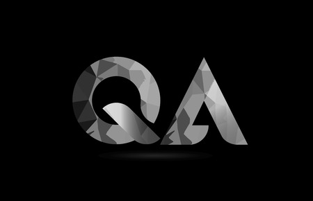 black and white alphabet letter qa q a logo combination design suitable for a company or business Illustration