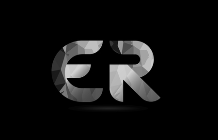 black and white alphabet letter er e r logo combination design suitable for a company or business