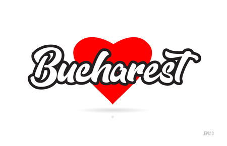 bucharest city text design with red heart typographic icon design suitable for touristic promotion Illustration