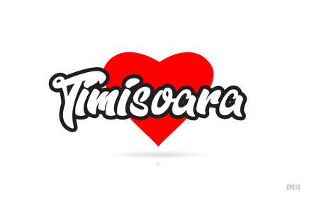 timisoara city text design with red heart typographic icon design suitable for touristic promotion Illustration