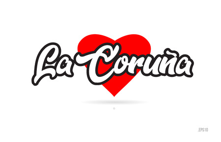 la coruna city text design with red heart typographic icon design suitable for touristic promotion