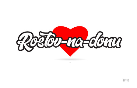 rostov na donu city text design with red heart typographic icon design suitable for touristic promotion Vektorové ilustrace