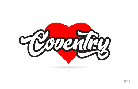 coventry city text design with red heart typographic icon design suitable for touristic promotion Illustration