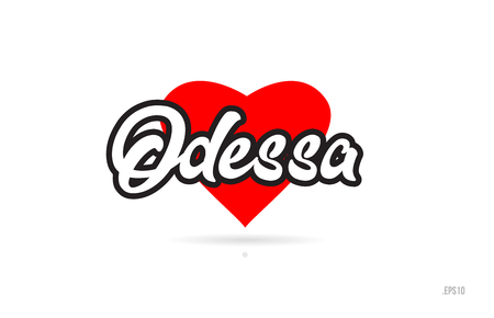 odessa city text design with red heart typographic icon design suitable for touristic promotion Ilustração