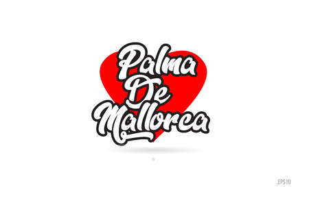 palma de mallorca city text design with red heart typographic icon design suitable for touristic promotion