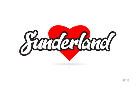 sunderland city text design with red heart typographic icon design suitable for touristic promotion Illustration