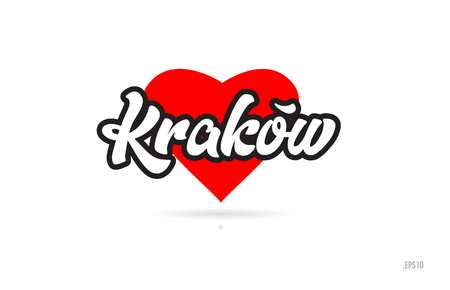 krakow city text design with red heart typographic icon design suitable for touristic promotion Illustration