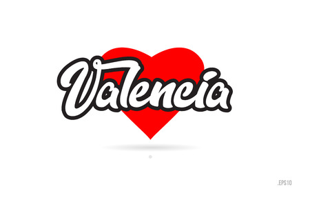 valencia city text design with red heart typographic icon design suitable for touristic promotion  イラスト・ベクター素材