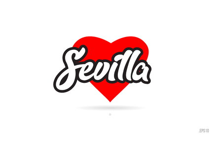 sevilla city text design with red heart typographic icon design suitable for touristic promotion