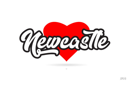 newcastle city text design with red heart typographic icon design suitable for touristic promotion Illustration