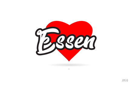 essen city text design with red heart typographic icon design suitable for touristic promotion