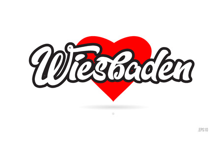 wiesbaden city text design with red heart typographic icon design suitable for touristic promotion Illustration