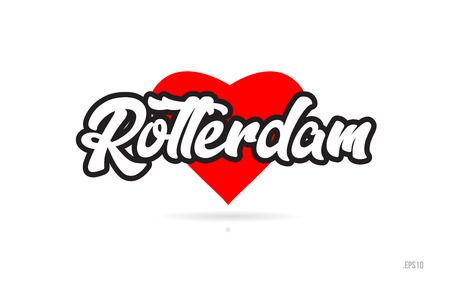 rotterdam city text design with red heart typographic icon design suitable for touristic promotion