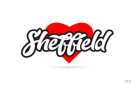 sheffield city text design with red heart typographic icon design suitable for touristic promotion