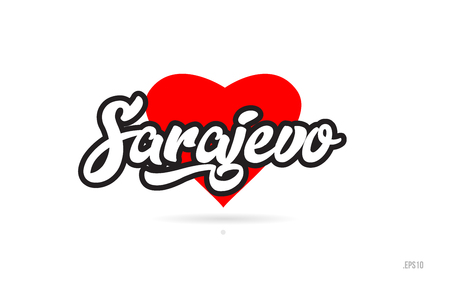 sarajevo city text design with red heart typographic icon design suitable for touristic promotion Illustration