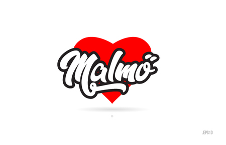 malmo city text design with red heart typographic icon design suitable for touristic promotion