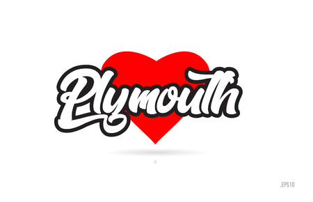 plymouth city text design with red heart typographic icon design suitable for touristic promotion Illustration