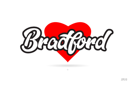 bradford city text design with red heart typographic icon design suitable for touristic promotion Illustration