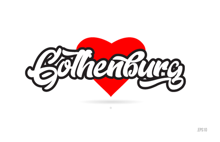 gothenburg city text design with red heart typographic icon design suitable for touristic promotion