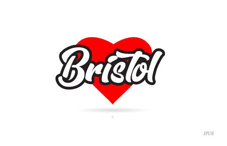 bristol city text design with red heart typographic icon design suitable for touristic promotion