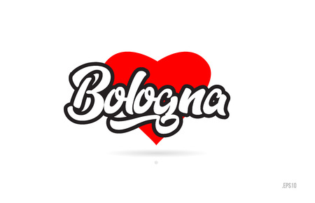 bologna city text design with red heart typographic icon design suitable for touristic promotion