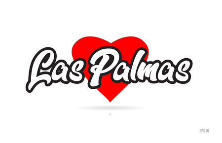 las palmas city text design with red heart typographic icon design suitable for touristic promotion