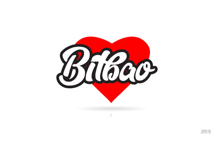 bilbao city text design with red heart typographic icon design suitable for touristic promotion