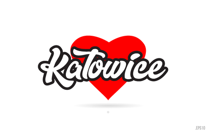 katowice city text design with red heart typographic icon design suitable for touristic promotion