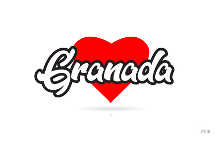 granada city text design with red heart typographic icon design suitable for touristic promotion