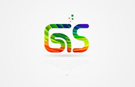 gs g s alphabet letter logo icon combination design with rainbow color Illusztráció