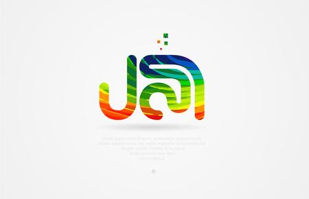 ja j a alphabet letter logo icon combination design with rainbow color