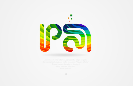 pa p a alphabet letter logo icon combination design with rainbow color