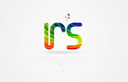 rs r s alphabet letter logo icon combination design with rainbow color