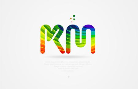 km k m alphabet letter logo icon combination design with rainbow color