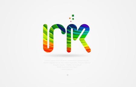 rk r k alphabet letter logo icon combination design with rainbow color
