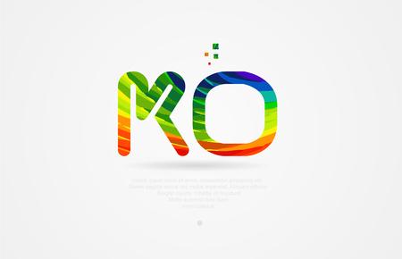 ko k o alphabet letter logo icon combination design with rainbow color Logo