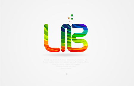 lb l b alphabet letter logo icon combination design with rainbow color
