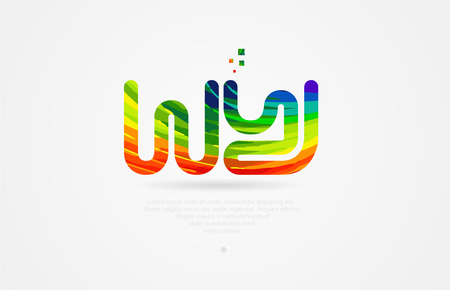 wy w y alphabet letter logo icon combination design with rainbow color