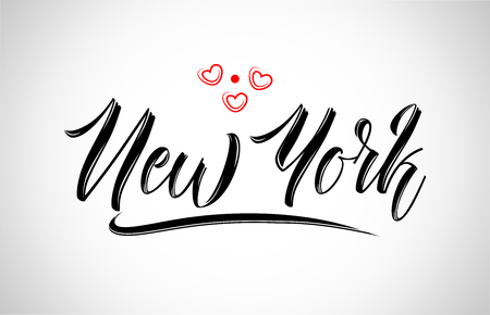 new york city text design with red heart typographic icon design suitable for touristic promotion