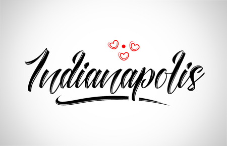 indianapolis city text design with red heart typographic icon design suitable for touristic promotion