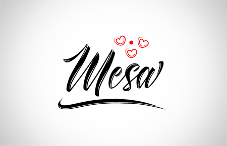 mesa city text design with red heart typographic icon design suitable for touristic promotion