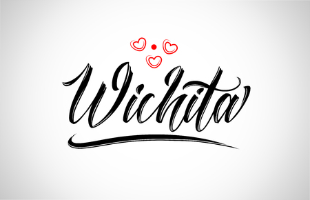 wichita city text design with red heart typographic icon design suitable for touristic promotion