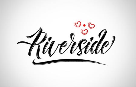 riverside city text design with red heart typographic icon design suitable for touristic promotion