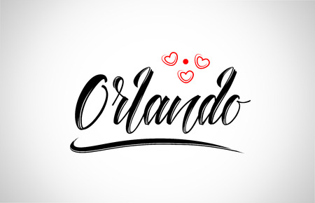 orlando city text design with red heart typographic icon design suitable for touristic promotion