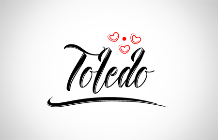 toledo city text design with red heart typographic icon design suitable for touristic promotion