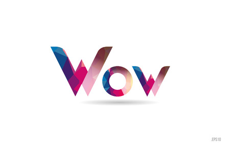 wow colored rainbow word text suitable for card, brochure or typography logo design